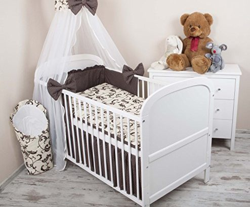 amilian baby bettw sche 5tlg bettset mit nestchen kinderbettw sche himmel 100x135cm retro braun. Black Bedroom Furniture Sets. Home Design Ideas