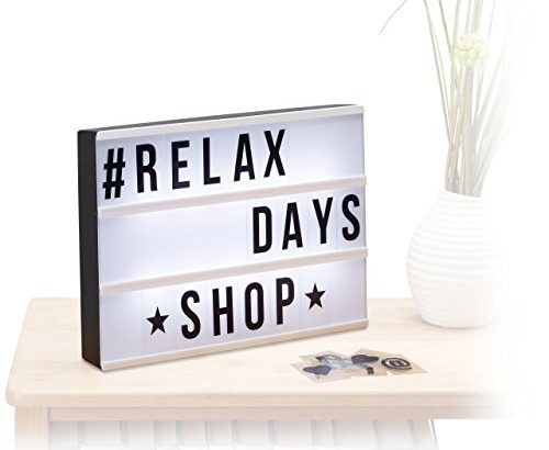 relaxdays light box leuchtbox mit 85 zeichen buchstaben zahlen led leuchtschild hbt 22 x. Black Bedroom Furniture Sets. Home Design Ideas