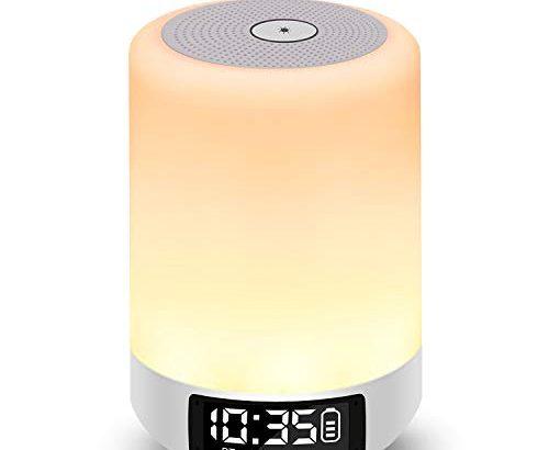 Nachttischlampe mit Lichtwecker, Amouhom LED Nachtlicht