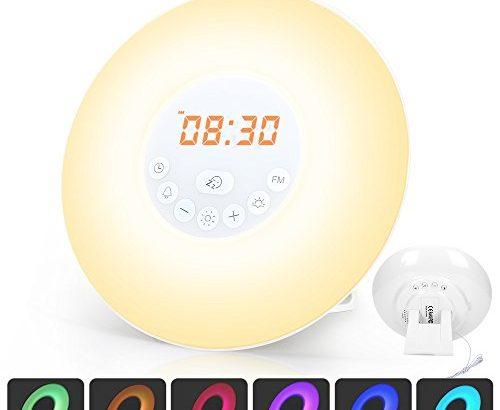 wake up licht lichtwecker radiowecker tageslichtwecker mit snooze funktion led wecker fm radio. Black Bedroom Furniture Sets. Home Design Ideas