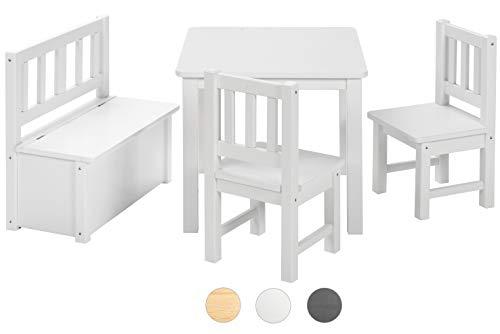 bomi kindertisch mit 2 st hle mit integrierter spielzeugkiste kindertruhenbank aus kiefer. Black Bedroom Furniture Sets. Home Design Ideas